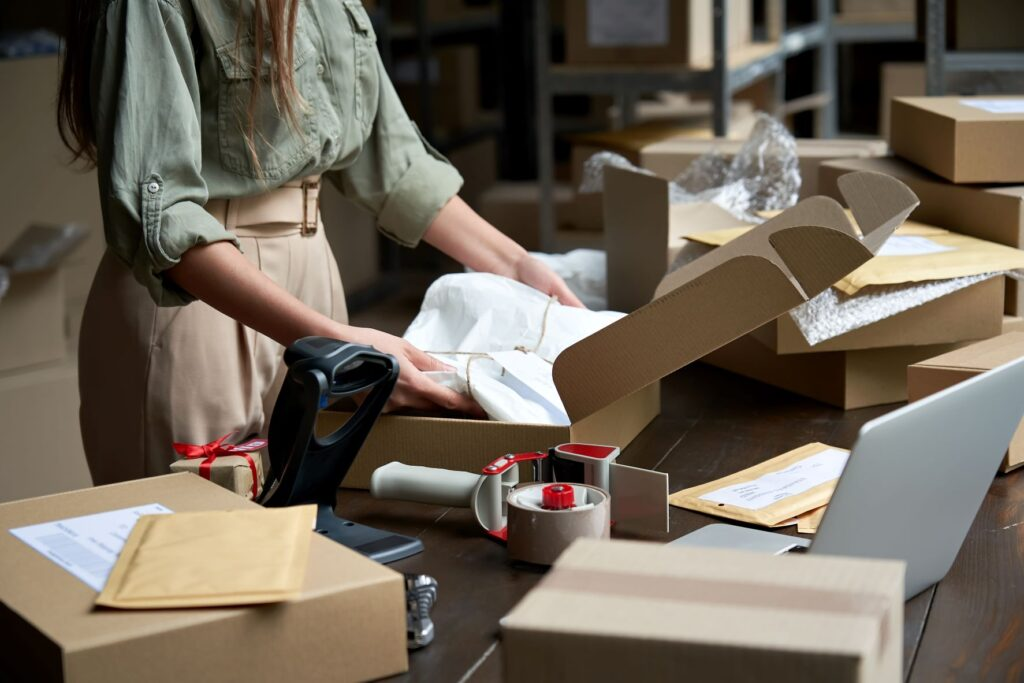 ecommerce business owner packing