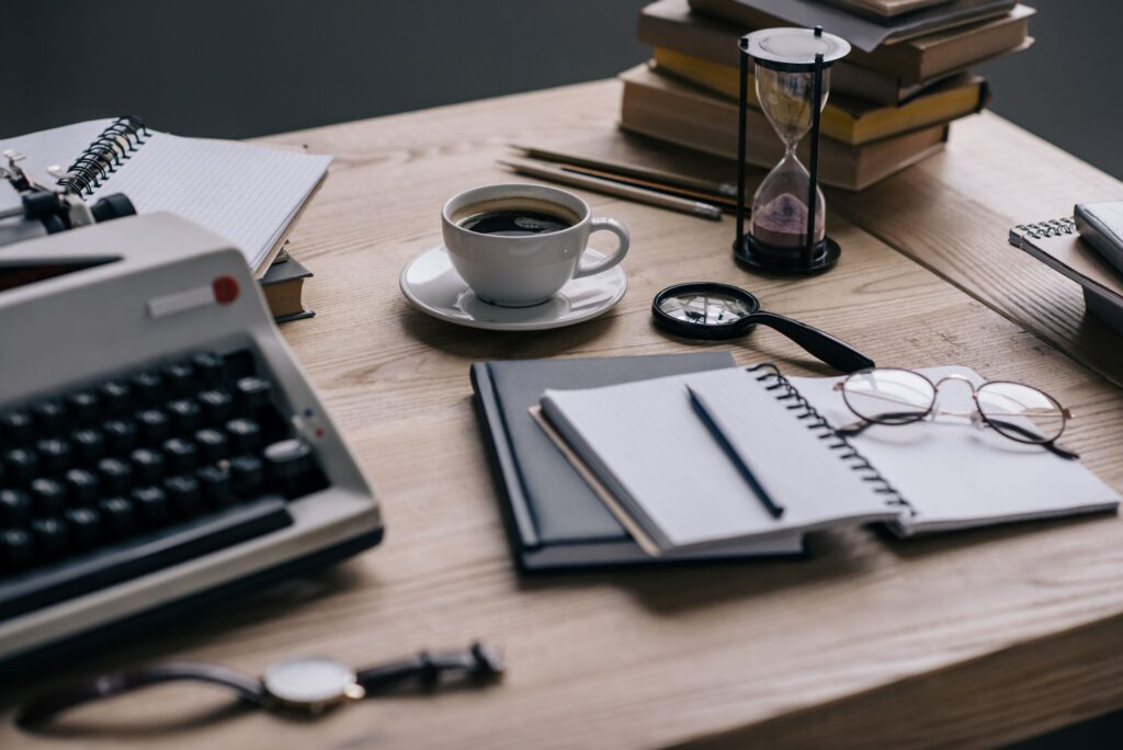 close-up-shot-of-writer-workplace-with-supplies